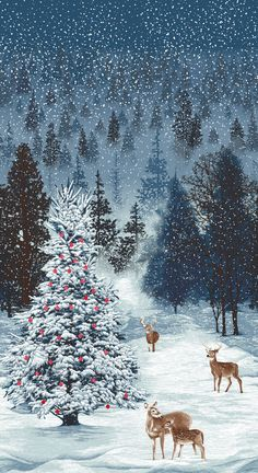 This item is unavailable Fabric Panel – RJR Christmas Merry Berry Bright Deer & Tree Scene Blue Christmas Hanukkah, Christmas Scenes, Christmas Pictures, Christmas Art, Winter Christmas, Christmas Decorations, Xmas, Illustration Noel, Christmas Illustration