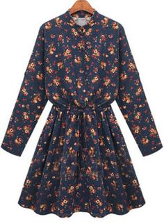 Navy Long Sleeve Floral Pleated Dress 19.17