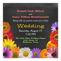 Fun Colorful Flowers Wedding Personalized Announcement