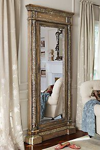 Mirrored Jewel Safe At first glance, it& a stately floor mirror. But upon closer inspection, behind this gorgeous looking glass is a clever and secure jewel safe. The beveled Trumeau Mirror, Beveled Mirror, Mirror Mirror, Mirror Jewelry Armoire, Vintage Mirrors, Luxury Bedding Collections, Soft Surroundings, Home Accents, Home Furnishings