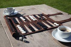 Games – Travel Backgammon Set genuine leather – a unique product by SONDERGUT on DaWanda