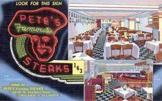 POSTCARD - CHICAGO - PETE'S FAMOUS STEAKS - 163-167 N DEARBORN - 3 IMAGES - 1950s