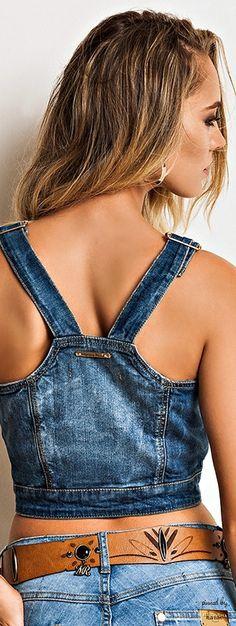 Morena Rosa Top Jeans, Denim Top, Blue Denim, Denim Jeans, Denim Fashion, Look Fashion, Womens Fashion, Jeans Bleu, Jean Top