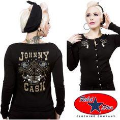 Johnny Cash Guns Cardigan Retro Rockabilly Punk Tattoo Pin Up Country 50s 60s
