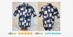 Large button front s/s shirt in blue with SAILBOATS  #hawaiian
