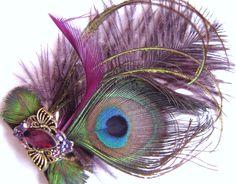 tocados sombreros pinzas para el cabello de plumas prendedores para zapatos estancia con clase pelo de la vendimia postizos plumas de pavo real