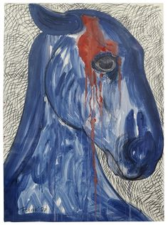 Elisabeth Frink Wounded Horse Dimensions:  39.02 X 29.02 in (99.1 X 73.7 cm) Medium:  charcoal and gouache Signed
