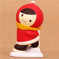 ice skating Little Red Riding Hood Christmas figurine Japan