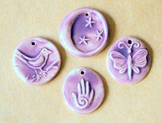 4 Handmade Ceramic Beads in Purple Lavender  Hamsa by beadfreaky