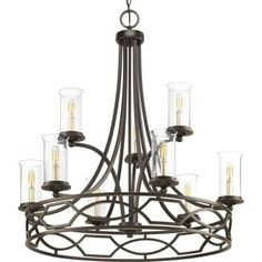 Progress Lighting P400038 Soiree 9 Light 34-1/4 Wide Taper Candle Chandelier with Clear Seeded Glass Shades (Steel)