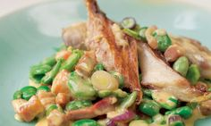Nigel Slater's warm smoked mackerel with broad beans, and peaches with elderflower recipe