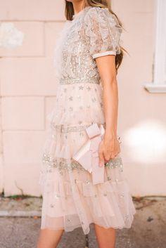 Gal Meets Glam Dressed -Needle & Thread dress, Gianvito Rossi pumps & Oscar de la Renta clutch