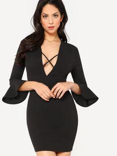 Flounce Sleeve Crisscross Plunging Neck Dress -SheIn(Sheinside)