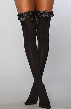 The Opaque Thigh High With Bow Garter by Foot Traffic