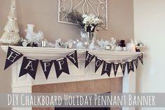 DIY Chalkboard Pennant Holiday Banner - Hello Nature