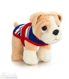 17cm Soft Toy Bulldog with Union Jack Coat UK