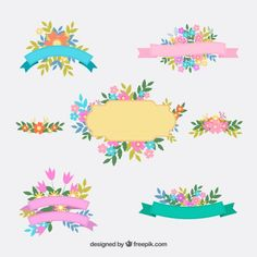 Floral ribbons Ribbon Banner, Art Graf, Page Borders Design, Floral Doodle, Decoupage, Birthday Card Template, Floral Ribbon, Free Download, Stickers