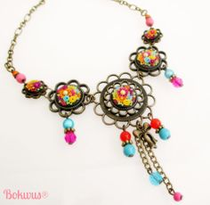 Polymer Clay 5pieces necklace with colourful handmade by Bokwus, €25.00