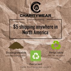 $5 shipping anywhere in North America - all eco-friendly materials!! https://mycharitywear.com/