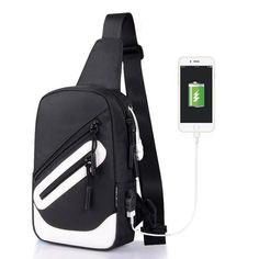 Waterproof Unisex Casual Messenger Bag Shoulder Chest Pack Ipad Bag  External USB
