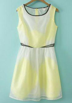 Yellow and White Sleeveless Organza Dress, €21.03