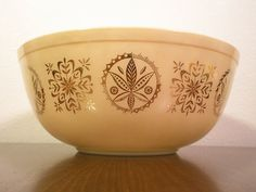 VINTAGE PYREX Mixing Bowl Tan Beige Gold  Mid by LaFemmeModerne, $18.00