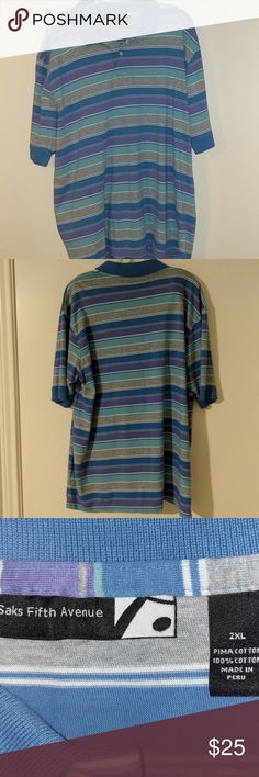 Men's Saks Fifth Avenue polo shirt Purple, blue, grey striped Saks polo, size 2x, made of 100% Pima cotton. Pre-owned with no rips, tears or stains. Saks Fifth Avenue Shirts Polos
