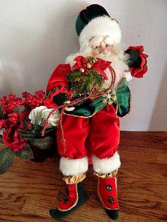 "Santa Claus Shelf Sitte  Red Green White Faux Fur 19"" Doll  Christmas Decor"