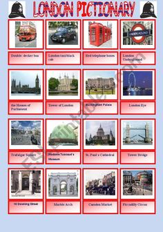 London pictionary, includes further writing practice of the names of the attractions.