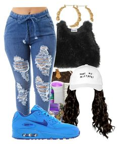 """""""-Kara"""" by dopest-queens ❤ liked on Polyvore featuring Louis Vuitton, October's Very Own and NIKE"""
