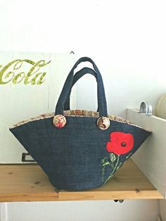 Handmade marché bag/embroidered.red. poppy.green.navy by Sujstory