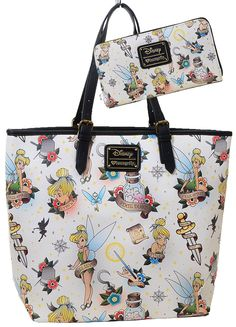 Disney Tinkerbell Tattoo Tote Bag Purse & Wallet Set by Loungefly