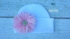 Newborn Baby Hospital Hat Pink Newborn Hat Girl Newborn Hat Baby Hat Beanie Hat Flower Beanie Hat by AdassaBaby on Etsy