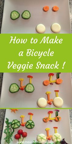 How to Make a Bicycle Veggie Snack in Minutes! This doesnt take long to put together. If you have a picky child then why not make some food art? This is fun and easy to do!