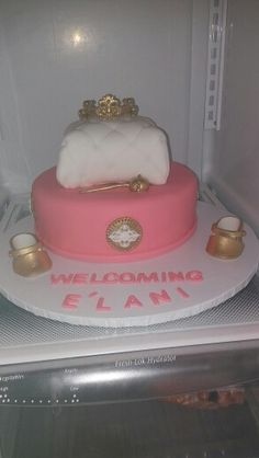 Princess theme two tier cake vanilla with chocolate and strawberry filling