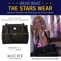 Wear what the Stars Wear -- Miche! Mary Murphy with a Miche Luxe Bag Get yours for a limited time. #handbags #miche #celebrity #emmys
