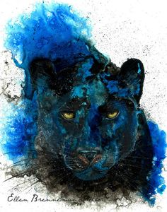 Done with Acrylic, Alcohol & India Inks - Panther spirit power animal art print by by EllenBrennemanStudio