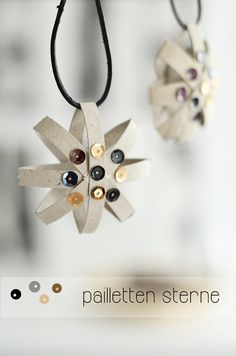Toilet paper tube sequin star ornaments (tutorial in German, but the pictures are self-explanatory)