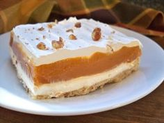 Butterscotch pudding spread over a sweetened cream cheese layer makes this dessert a creamy delight. This easy to make dessert is one that will leave them wanting more.