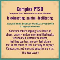 Complex trauma is still a relatively new field of psychology. Complex Post Traumatic Stress Disorder, results from enduring complex trauma. Complex trauma is ongoing or repeated interpersonal traum… Mental Health Facts, Mental And Emotional Health, Emotional Abuse, Emotional Healing, Stress Disorders, Mental Disorders, Bipolar Disorder, Infp, Trauma Quotes