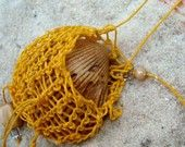 Golden Yellow Beach Necklace, Fetish Pouch for Shell collecting