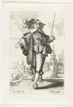 Abraham Bosse   Frans edelman met opgeheven karwats, gekleed volgens de mode ca. 1630, Abraham Bosse, Jean de Saint-Igny, François Langlois, 1629   Frans edelman, gekleed in een halflange schoudermantel met gefestoneerde rand over een kort wambuis met brede opstaande kraag..Hoed met  veren op het gekrulde haar dat in een liefdeslok (cadenette) over de linkerschouder hangt. Kniebroek met kousebanden. Schoenen met rozetten. In zijn opgeheven linkerhand een karwats. Kasteel op de achtergrond.