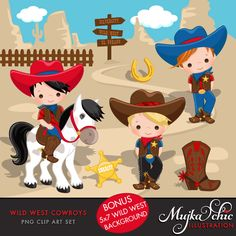 Wild West Cute Cowboy Clipart- Red & Blue Instant Download Western Graphics