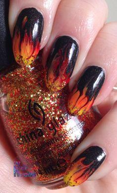 Nail Newbie: Tri Polish Challenge Red, Orange and Yellow #2 - My nails are on fiiiiiiiiiiiiiire!