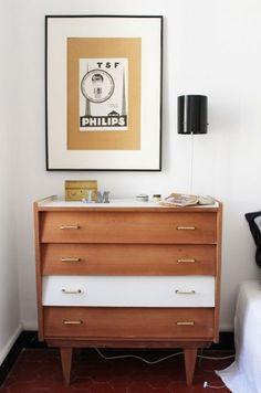 Chez Mariekke, commode années 60 de la chambre, vintage, home, décoration , déco