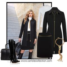 """A suit with ATTITUDE: """"Velocity"""" jacket + skirt, with """"Pulse"""" necklace. Carlisle Collection, Fall 2013"""
