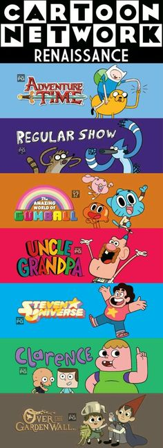 Adventure time, Steven universe, Over the garden wall, and The amazing world of gumball are my favorites on here