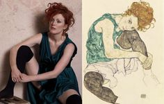 """Seated Woman With Bent Knee"", 1917 by Egon Schiele Harper's Bazaar May 2008, Julianne Moore in 'Portraits of a Lady' by Peter Lindbergh"
