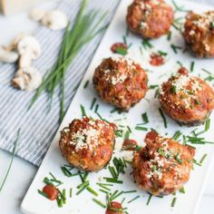Pizza Stuffed Mushrooms: a unique twist on a classic appetizer, complete with pepperoni and two kinds of cheese.