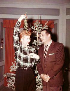 Merry Christmas, mistletoe with Lucille Ball and Desi Arnaz.